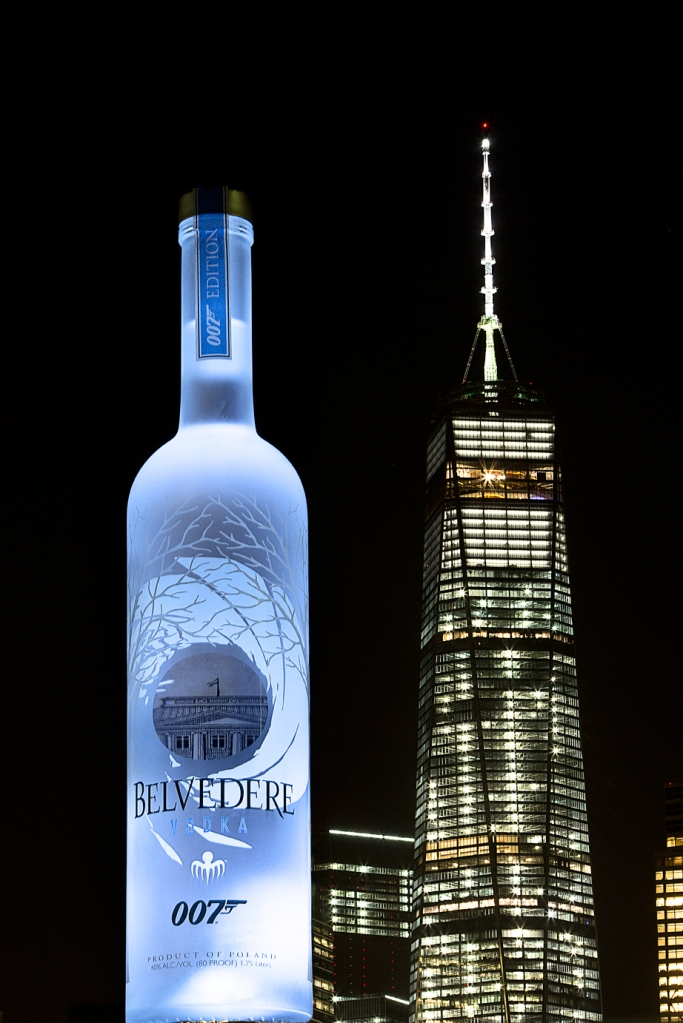 Belvedere 007 SPECTRE bottle next to New York Freedom Tower